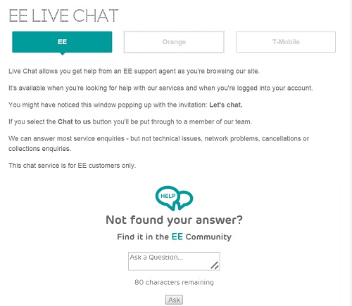 EE LIVE CHAT BOX