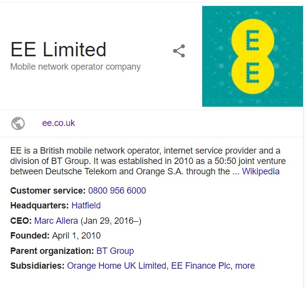 ee limited contact information