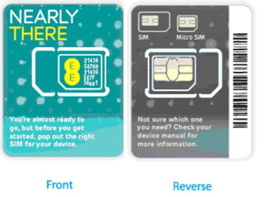 EE SIM CARD (FRONT + REVERSE)