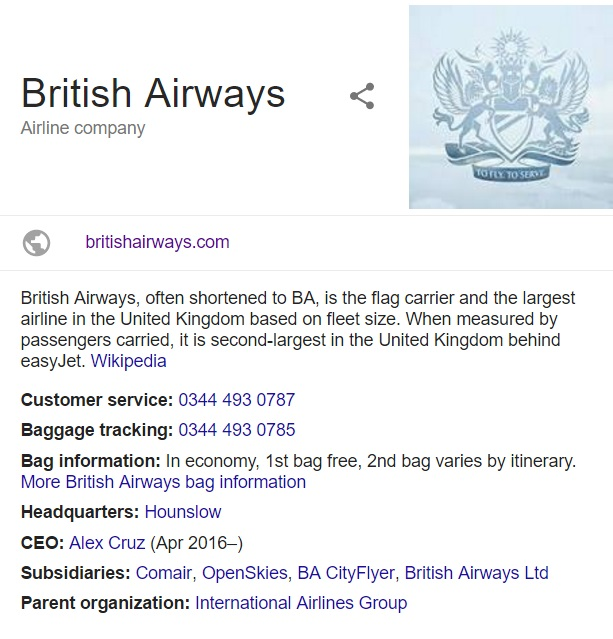 British Airways UK Customer Service Phone Number: 0843 837 5401