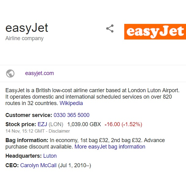 easyjet contact information