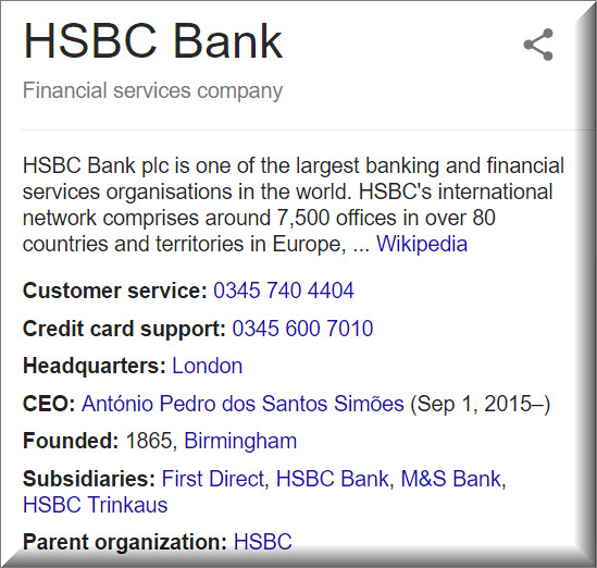 HSBC contact information