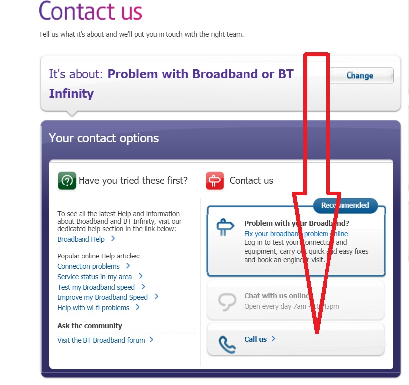 the BT call us link