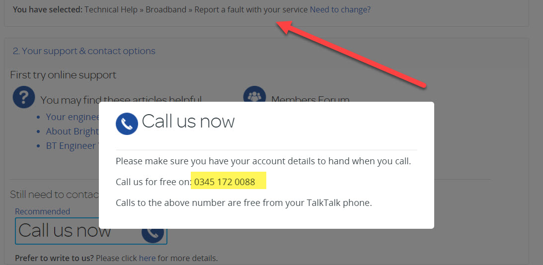 TalkTalk broadband customer service number