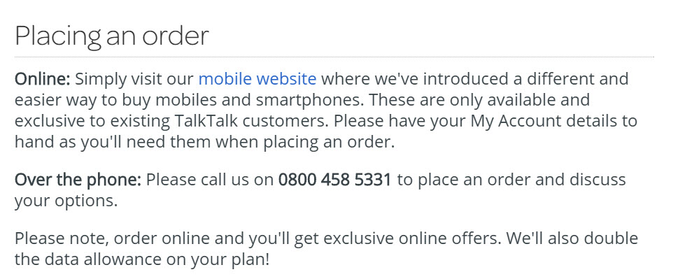 how to place an order with talktalk