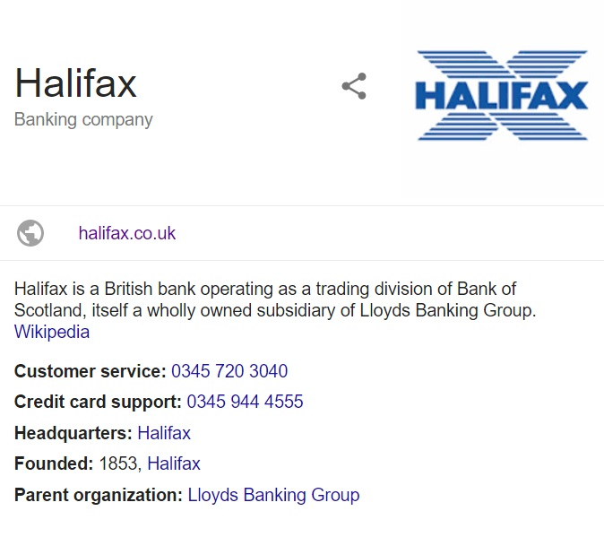 halifax contact information