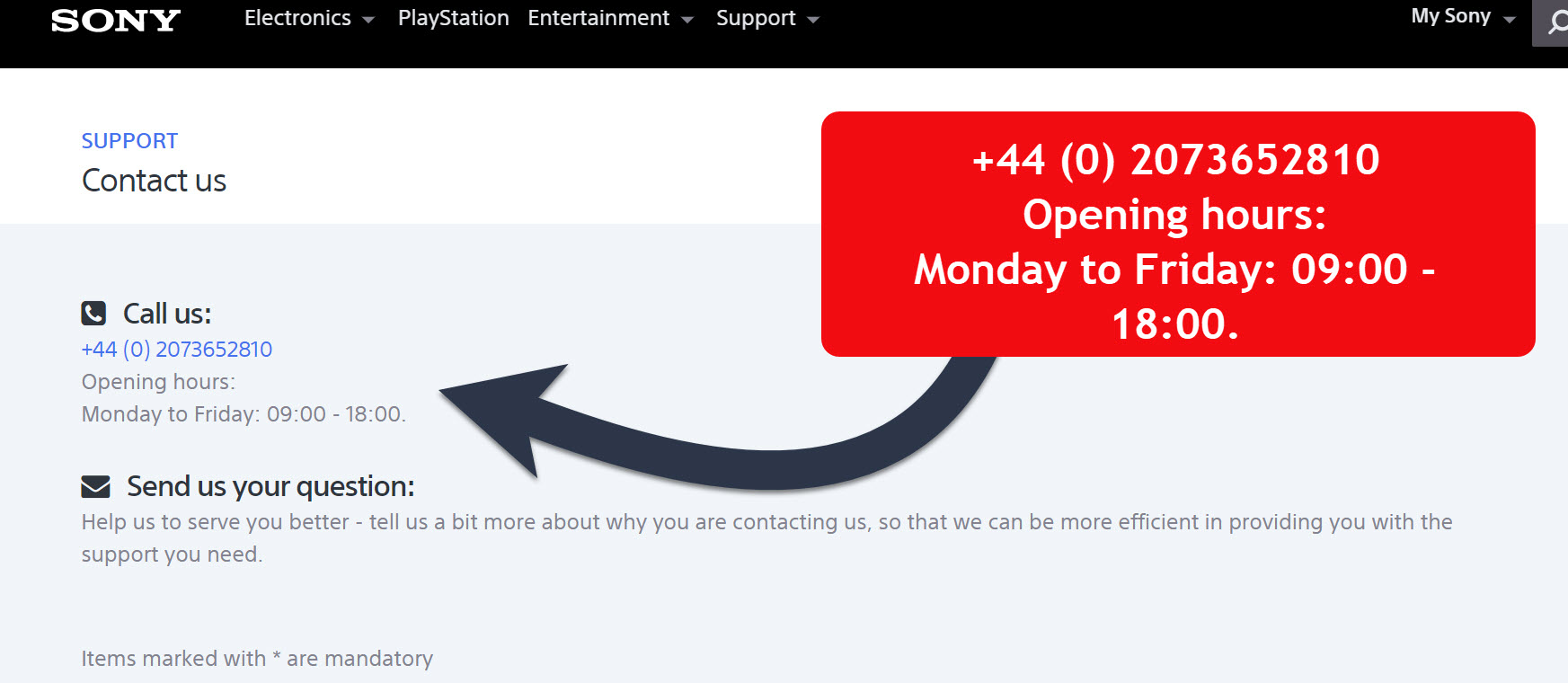 Sony contact number and service opening hours