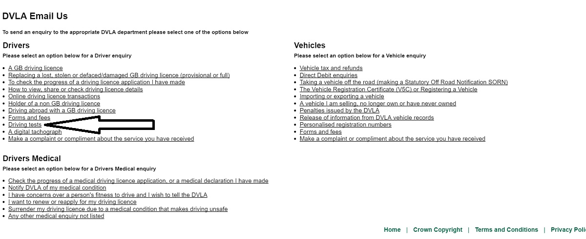 email dvla page