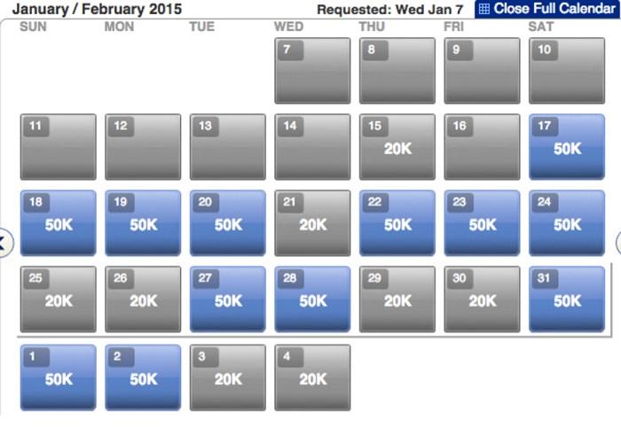 flights calendar