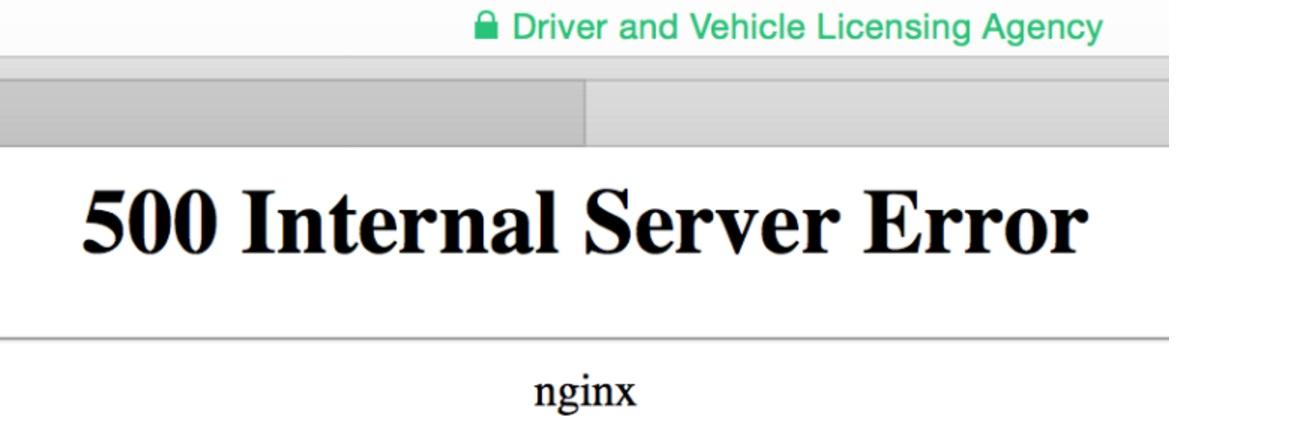 server error on dvla website