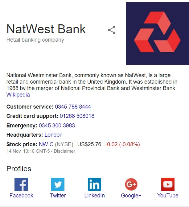 Call us banking services