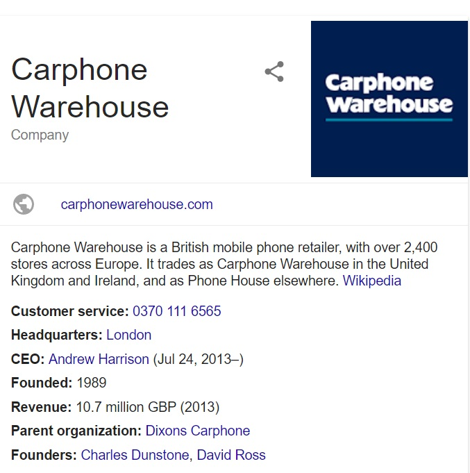 contact carphone warehouse