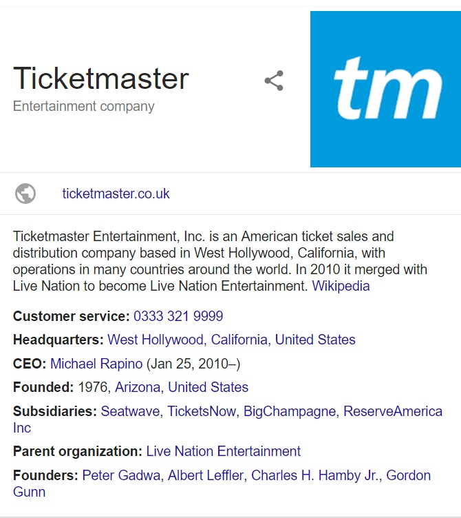 Ticketmaster: Customer Service Contact Number, Helpline