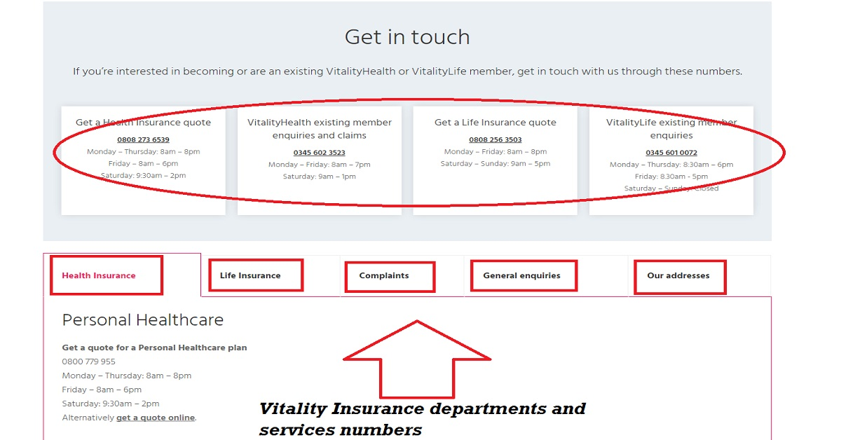 vitality insurance contact us