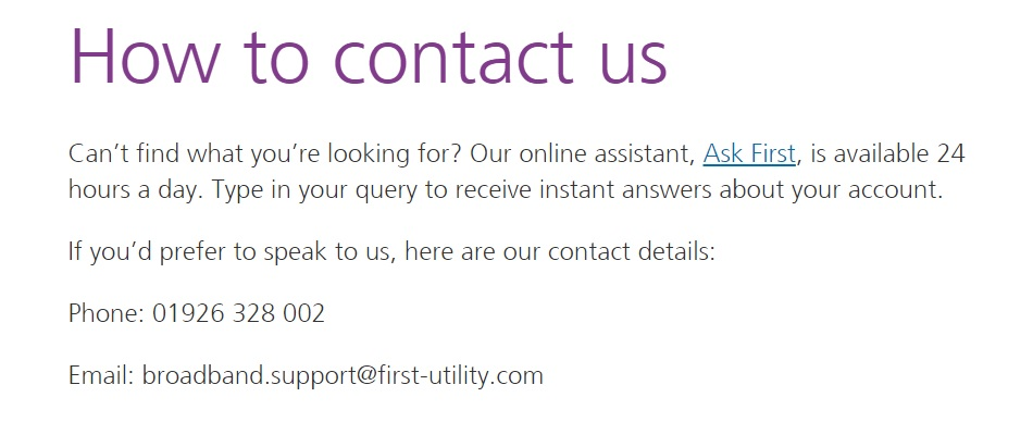 first utility broadband support