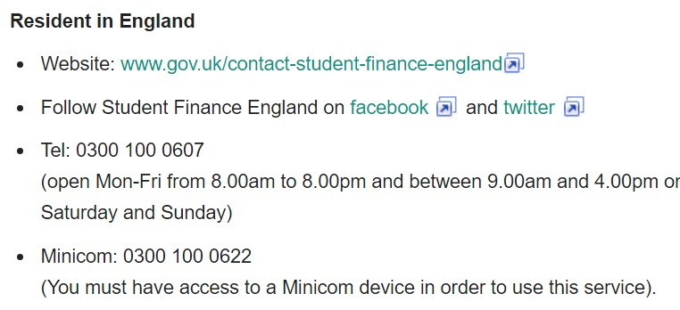 student finance england contact