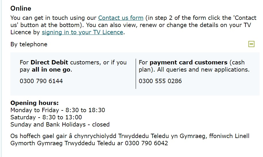 how to contact tv licensing by telephone