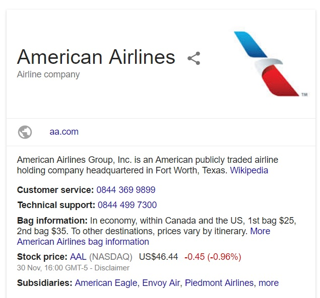 Below you can find the Contact details of American Airlines Corporate Office Address, Mailing and Postal Office address along with the contact information like the toll free phone number, Email, website details, fax number which will help you to contact American Airlines.