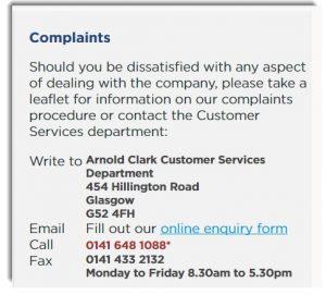 Arnold Clark Customer Complaints