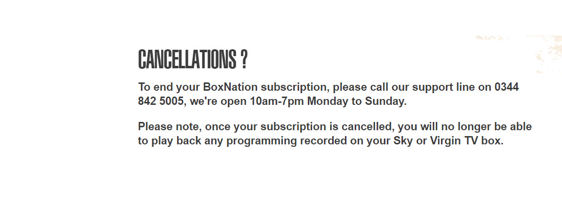 BoxNation Unsubscribe number
