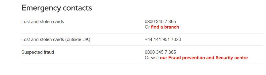 Cbonline Emergency contacts