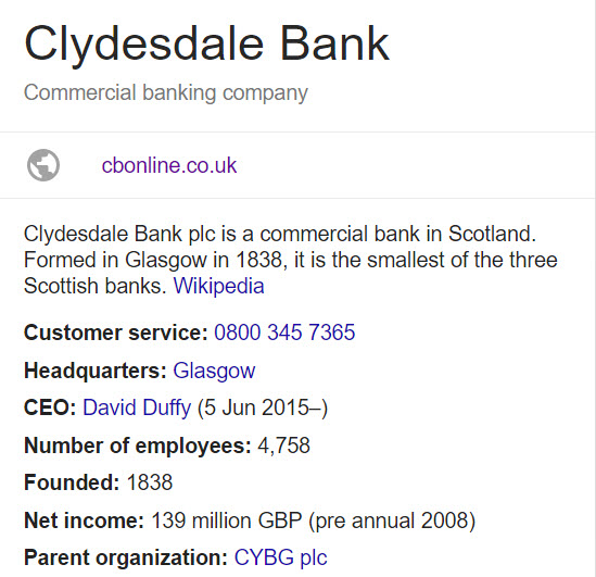 Clydesdale Bank information
