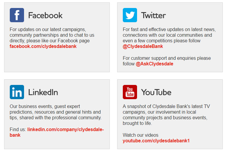 Clydesdale Bank social accounts