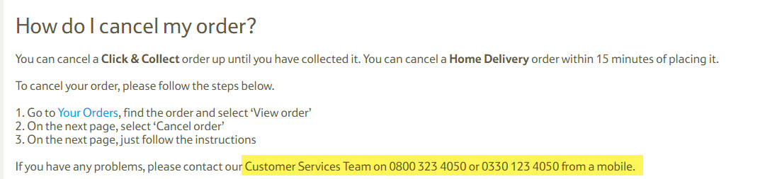 How to cancel Tesco Direct order