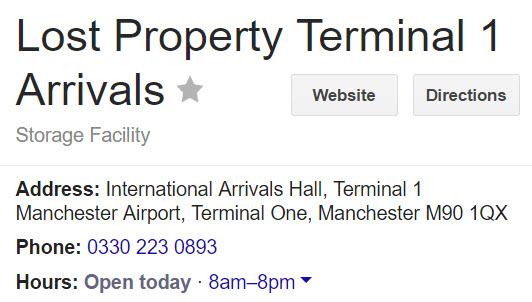 Lost Property Terminal 1 Arrivals