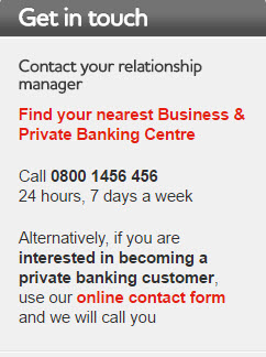 Private Banking phone number and opening times