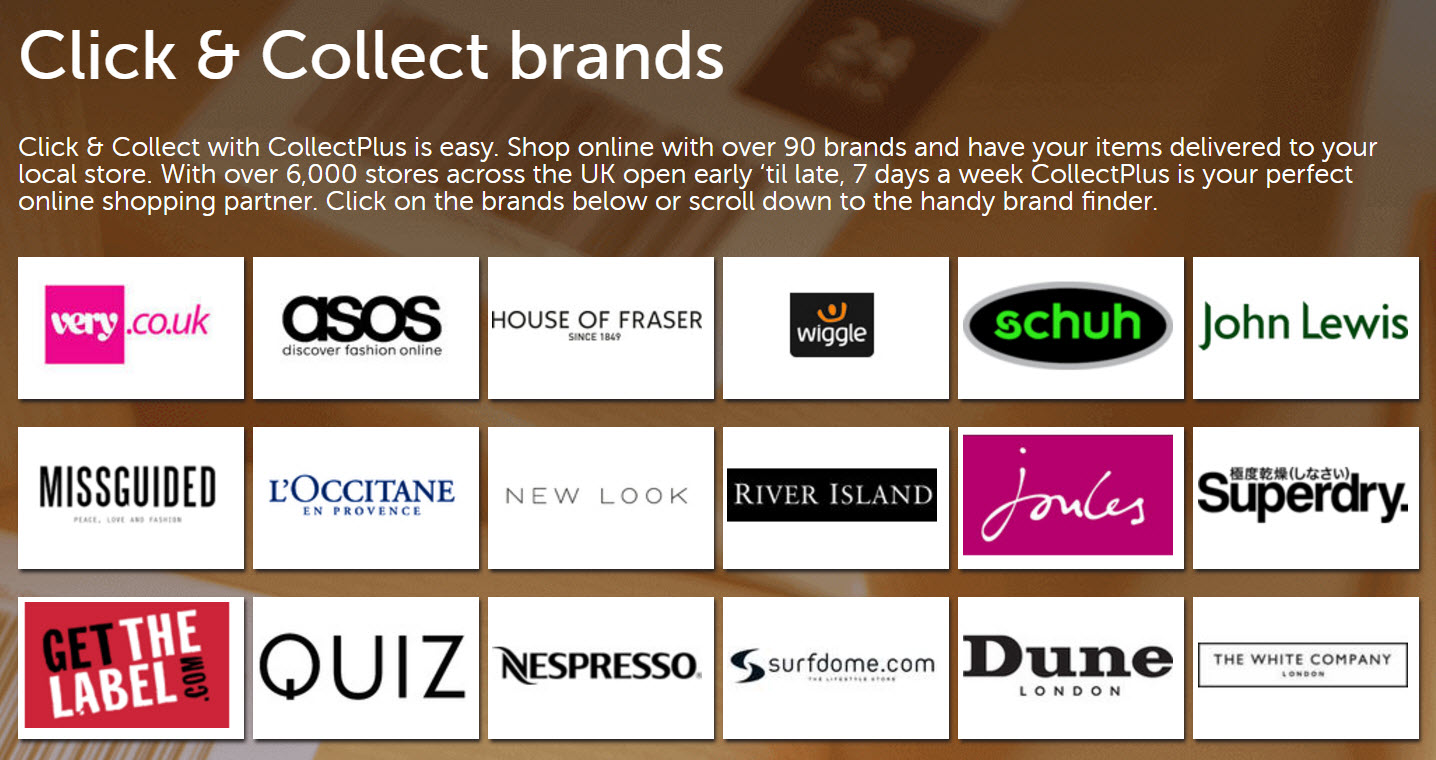 collectplus Click & Collect brands