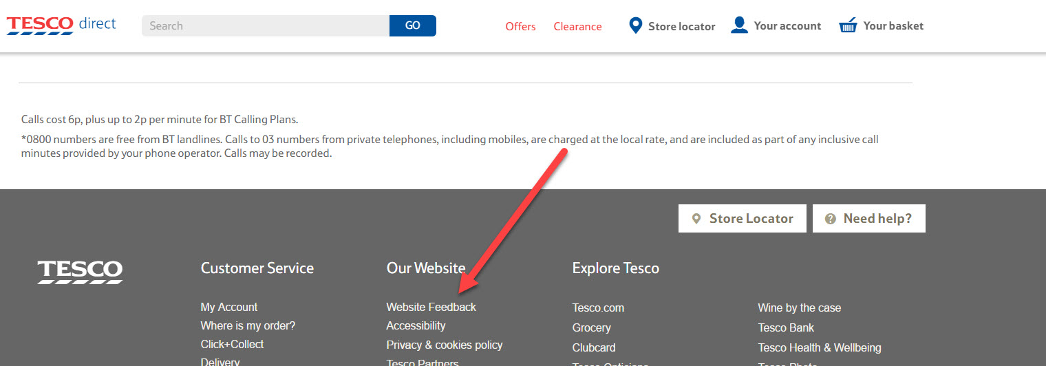 tesco feedback link