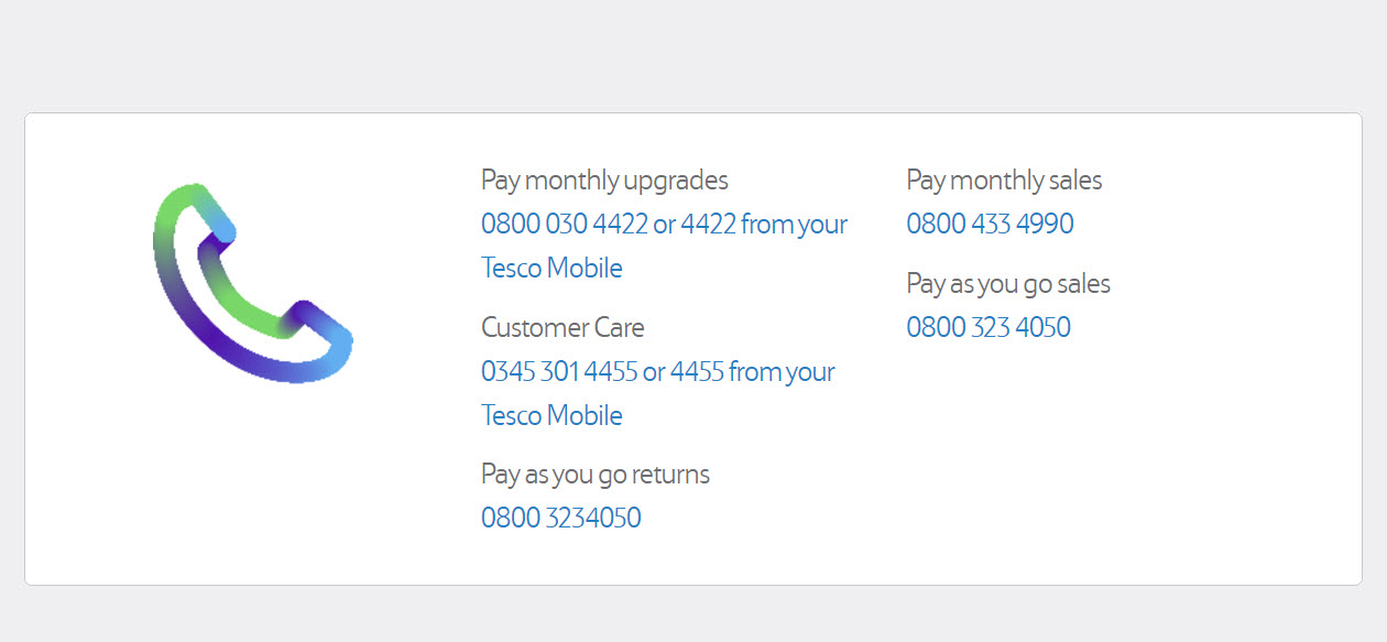 tesco mobile numbers