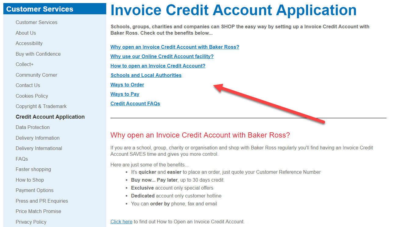 Credit Account Application Baker Ross