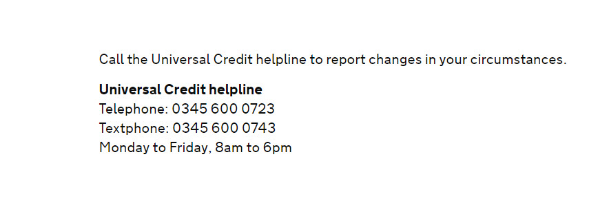 Universal Credit changes in your circumstances