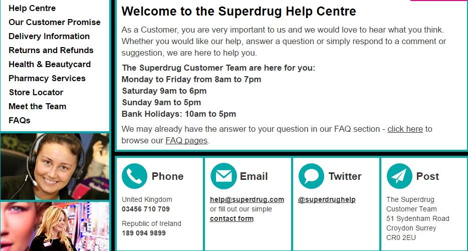 Superdrug Customer Service Contact Number 03456 710 709
