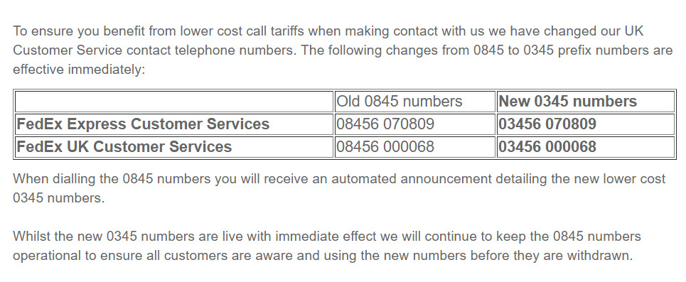 fedex UK Customer Service number changes