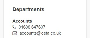 Accounts number Ceta