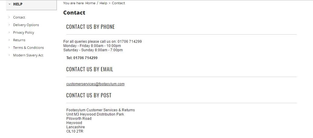 Footasylum UK contact numbers