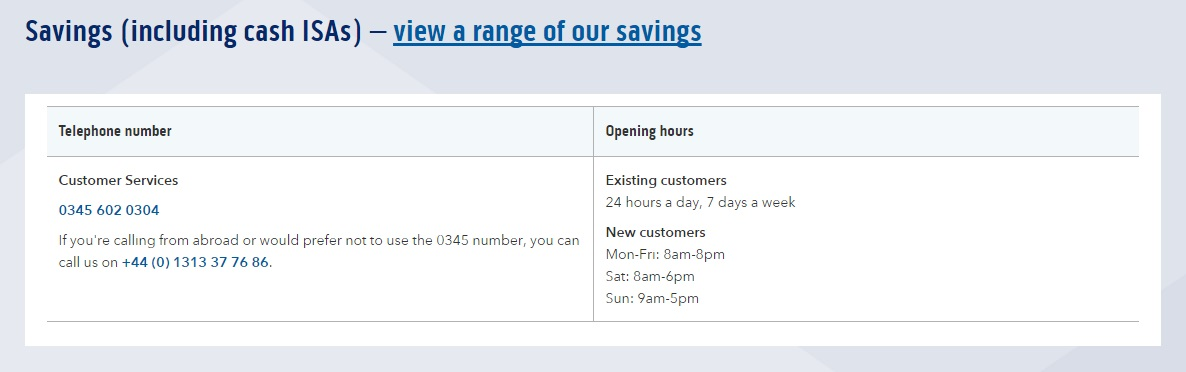 customer service number and opening hours