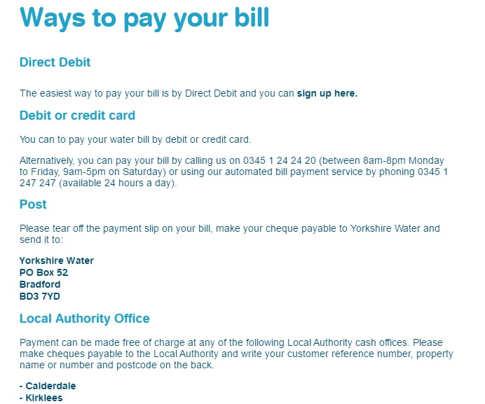 How to pay Yorkshire Water bill