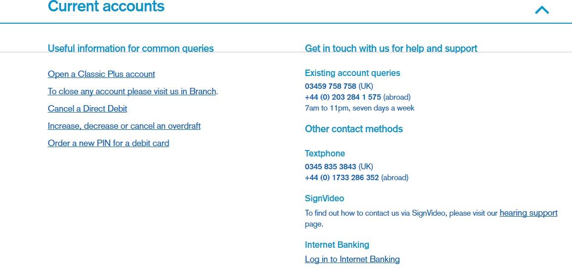 current accounts contact number