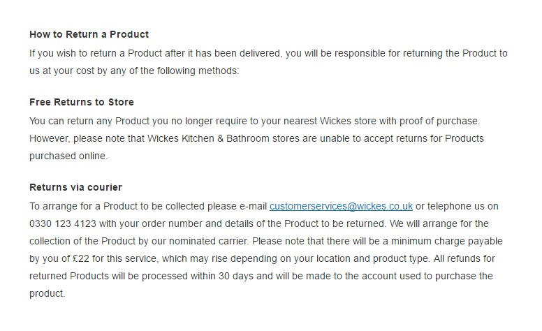 Wickes Cancellation and Return