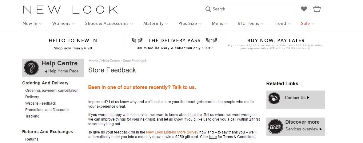 Store feedback
