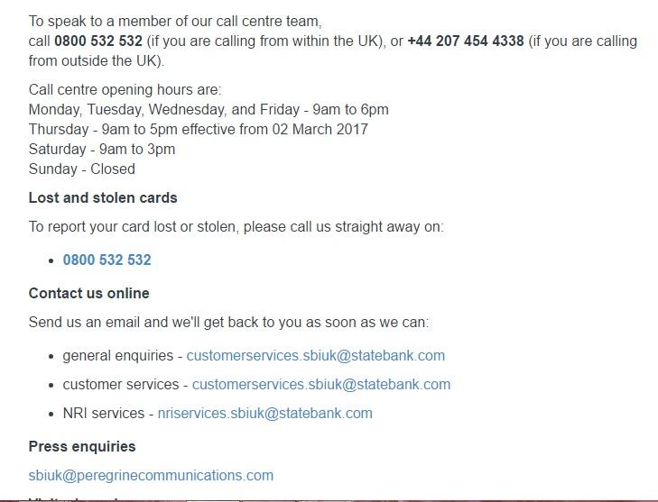 sbi contact info