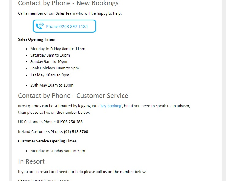 Love Holidays contact numbers