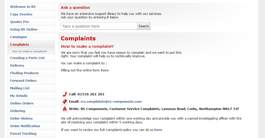 RS Components Customer Complaints
