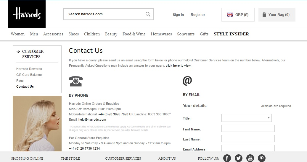 Harrods Customer Service Contact Number 0333 300 1000