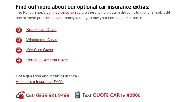 The Policy Shop Car Insurance numbers
