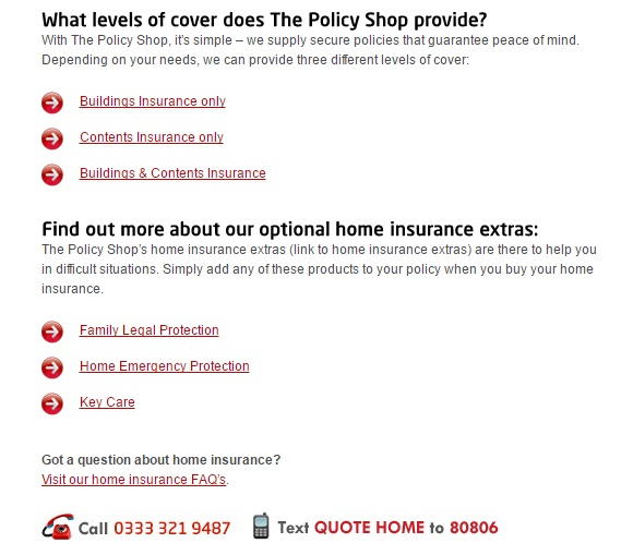 The Policy Shop Home Insurance Queries